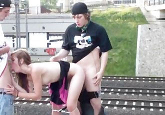 Blonde teen girl in railroad PUBLIC orgy gang bang in broad daylight