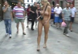 Crazy blonde chick susanne naked on public streets