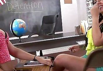 Busty brunette gives handjob to stepbrother of her frind in classroom - 6 min