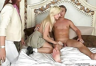 Horny Syren Demer Blackmails Stepson and His Girlfriend Jessie Volt into 3Some - 7 min HD