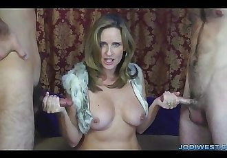 Jodi gives a HOT double handjob