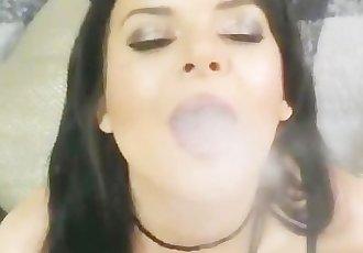 Teen smoking blowjob and face fuck swallow