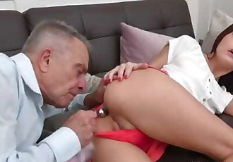 Old Goes Young - Grey-haired teacher tastes a sweet ass