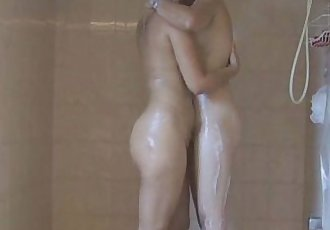 Amateur Horny Lesbian Shower Time