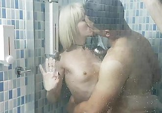Nora fucks an Italian under shower 1