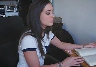 Stepbrother helps with homework for a blowjob and a fuck