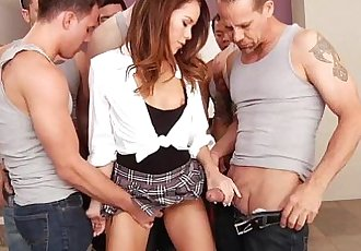 Hot slut Megan Rain banged with many huge stiff cocks