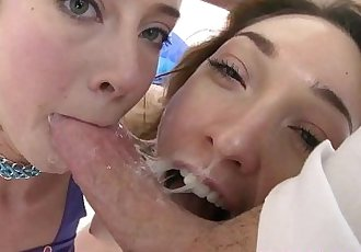 SWALLOWED Lily Labeau and Haley Reed double sloppy blowjobHD+