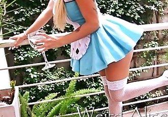 Busty Blonde TeenBig Round Ass Upskirt and High Heels HD