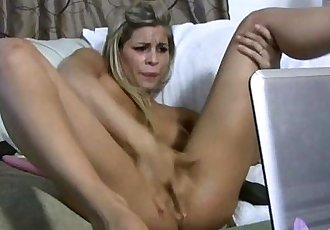 Busty blonde Sarah solo squirts over own face