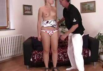 Cheating blonde riding old big cock