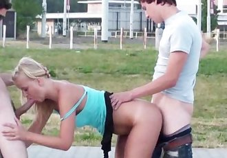 PUBLIC sex with a young teen pretty girl in broad daylight