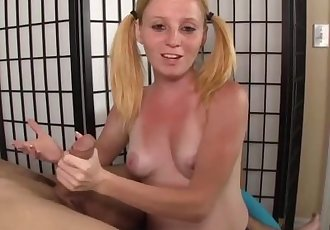 Teen redhead handjob demonstration