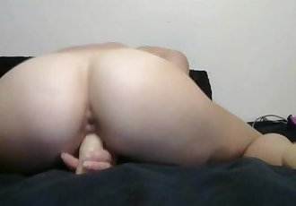 tiny little tight blonde takes DP with two big dildos