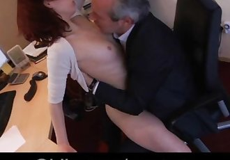 Passionate young secretary tease her old boss to fuck him