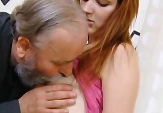 Sveta is bent over and her ass fucked hard by her older man