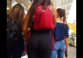 candid voyeur perfect ass in leggings Latina teen