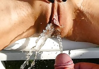 piss games outdoor peeing each other on girl pussy and clit and cock piss