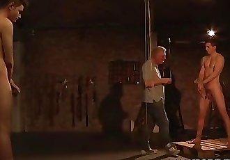 Maledom Sebastian Kane torments two twink cocks and blowjob