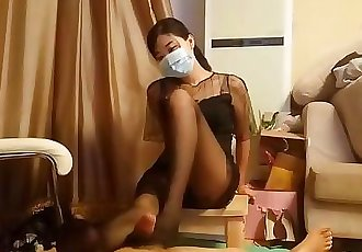 Chinese Sexy Pantyhose Footjob