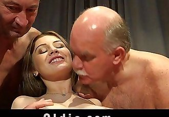 5 Old men gang bang nasty young blondeHD
