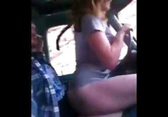 shes riding while driving truck