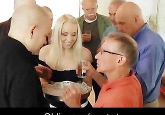Seven old men gangbang fucking blonde secretary DP and crazy facials