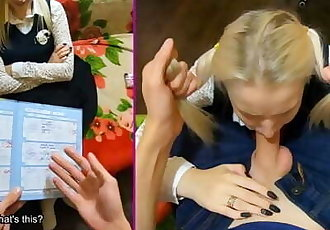 Punished a young cute schoolgirl for bad study - POV by Stacy Starando