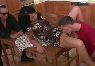 Husbands friend pleases his sexy young brunette wife