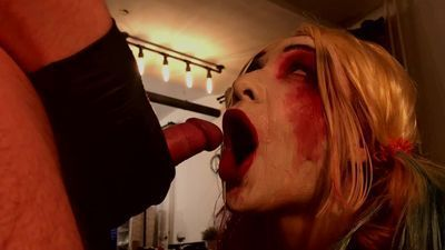 Harley Quinn cosplay blowjob cum on face