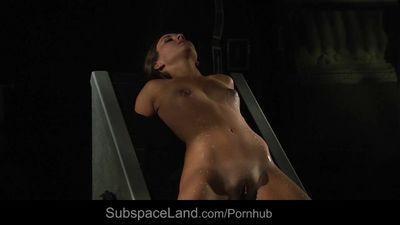 Bound hot slave in pain for bdsm fetish fuck