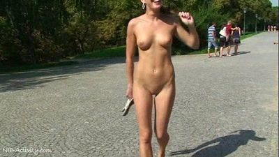 Spectacular public nudity with crazy babe laura and friends