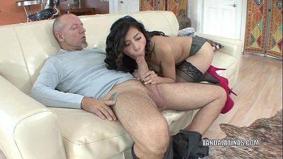 Petite coed Nicole Ferrera bangs an older guyHD