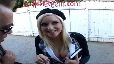 icecream truck teen schoolgirl in knee high socks gets half creampie filling