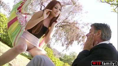 Slutty teen Kim Blossom gets her tits sucked by her horny stepdaddy