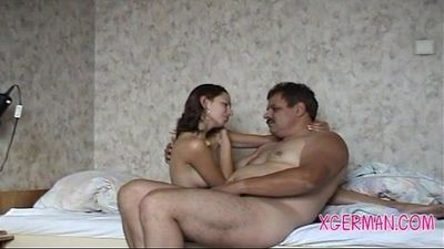 Old man fuck his German young slut