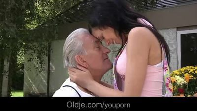 Old man and young girls enjoy a nice fucking