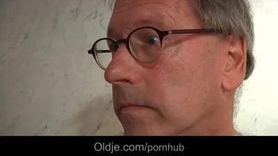 66 pervers old hotel client fucks the slutty skinny blonde maid