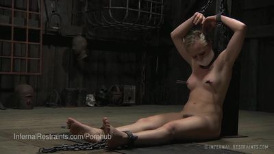 Cute Blonde Struggling in Chains and Gagged