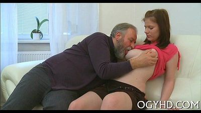 Hot juvenile playgirl banged by old guy