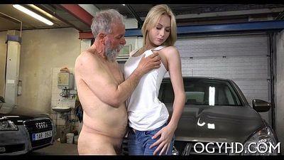 Cute juvenile gal screwed by old guy