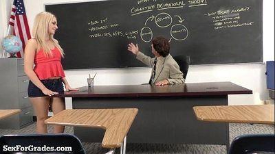 Hot Blonde Schoolgirl Sucks and Fucks Her Teacher!HD