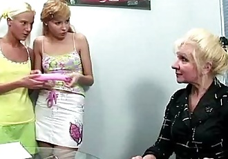 Two blonde russian teens get a lesson of lesbian sex