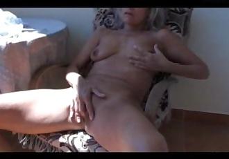 Old mature masturbating on the balcony