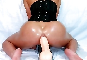 ASIAN GF CORSET SLAVE SQUIRTS ON HUGE ANAL DILDO!
