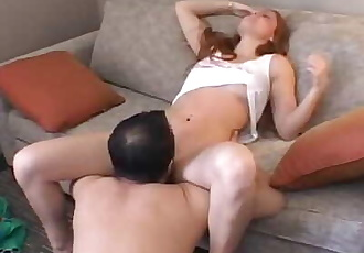 AMWF Farrah Flower USA Woman Red Hair Hot Pussy Interracial Sex Chinese Man