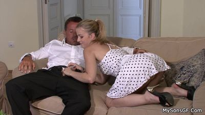 Lovely blonde cheats with father in law
