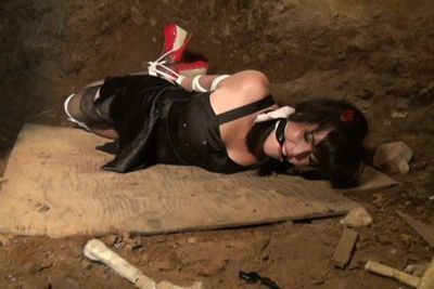 Party girl kidnapped and hogtied in the basement