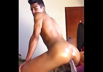 Teen latin twink riding dildo like a pro