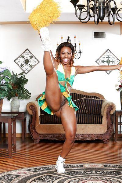 Cheerleader Chanell Heart flashing panty upskirt & showing naked ebony pussy